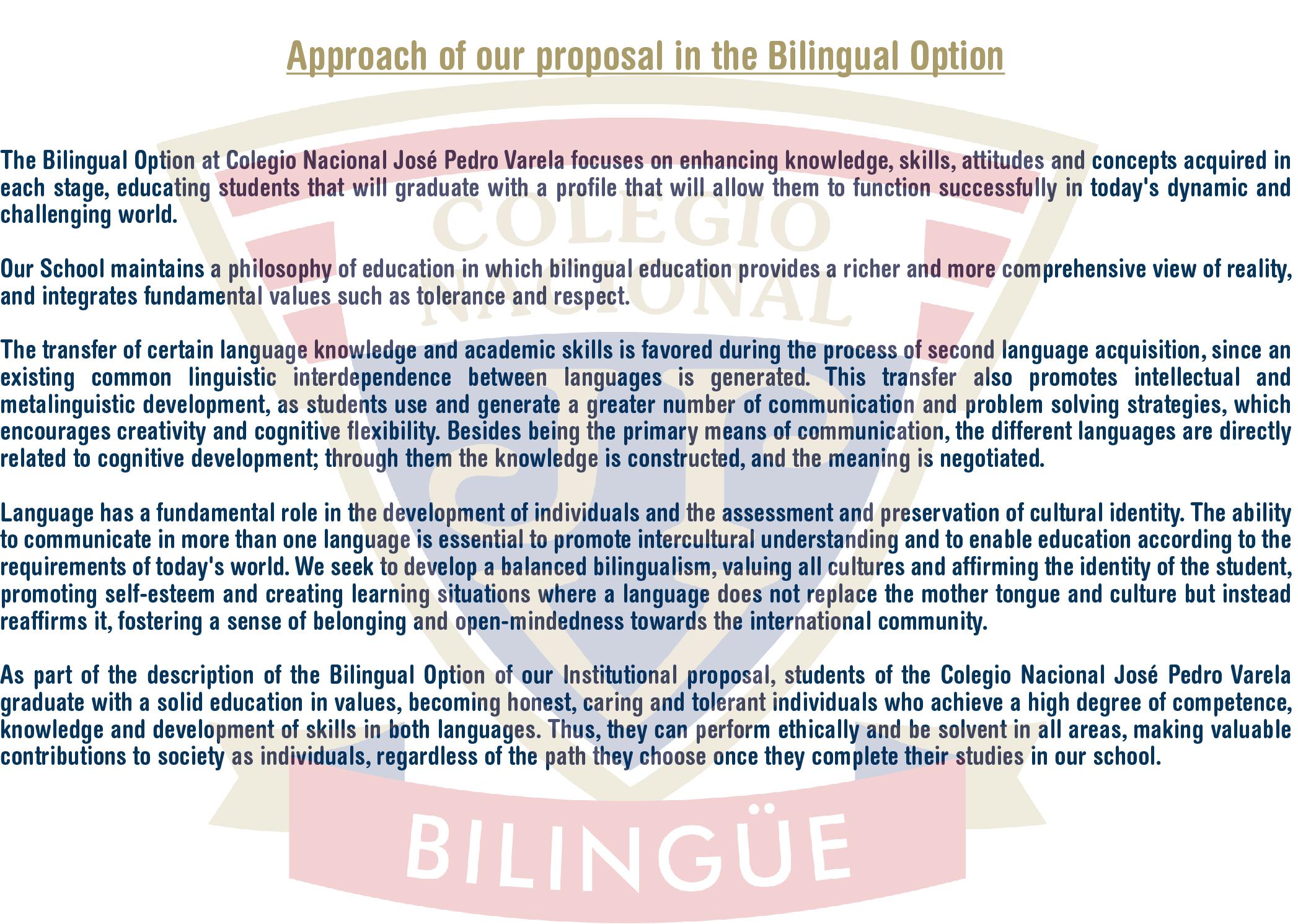 Enfoque de nuestra propuesta en la Opción Bilingüe eng