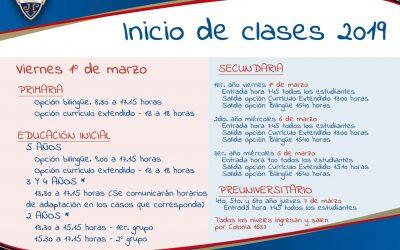 Fechas de inicio de clases 2019 Montevideo