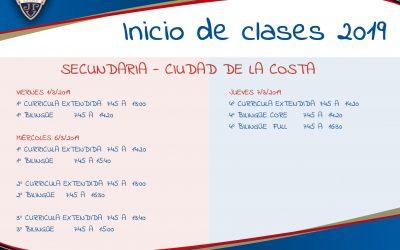 Fechas de Inicio de clases 2019 – Ciudad de la Costa